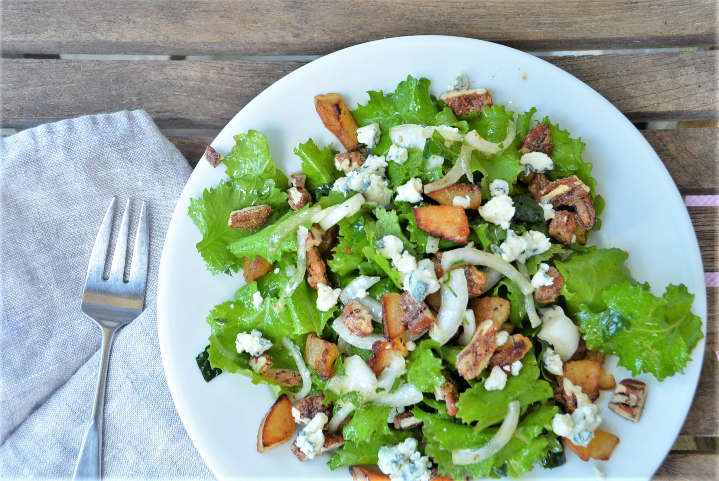 Roasted and Fresh Pear Salad with Sweet & Spicy Nuts, Blue
