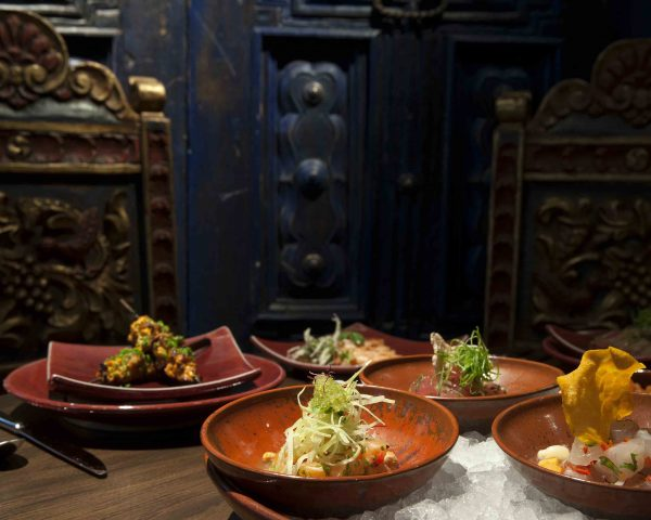 Coya Restaurant, 118 Piccadilly, Mayfair. W1J 7NW. A selection of Peruvian food icluding cerviches and anticuchos in the restaurant.
