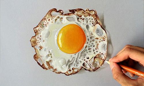 hand-drawn 3D fried egg - Sushant Rane