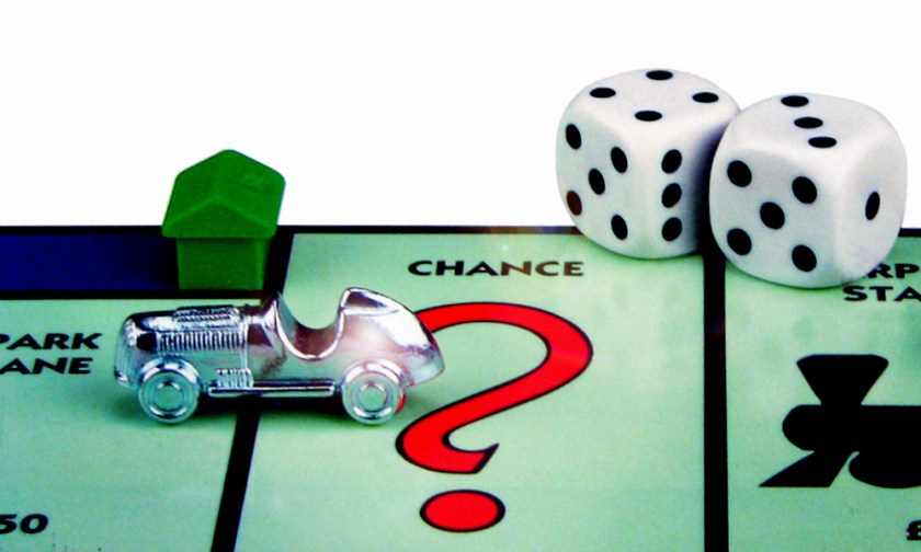The Best Advice So Far - chance - silver car, green house and dice on the Monopoloy 'Chance' space
