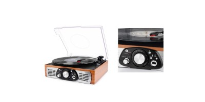 1byone Belt-Drive 3-Speed Stereo Turntable with Built in Speakers, Supports Vinyl to MP3 Recording