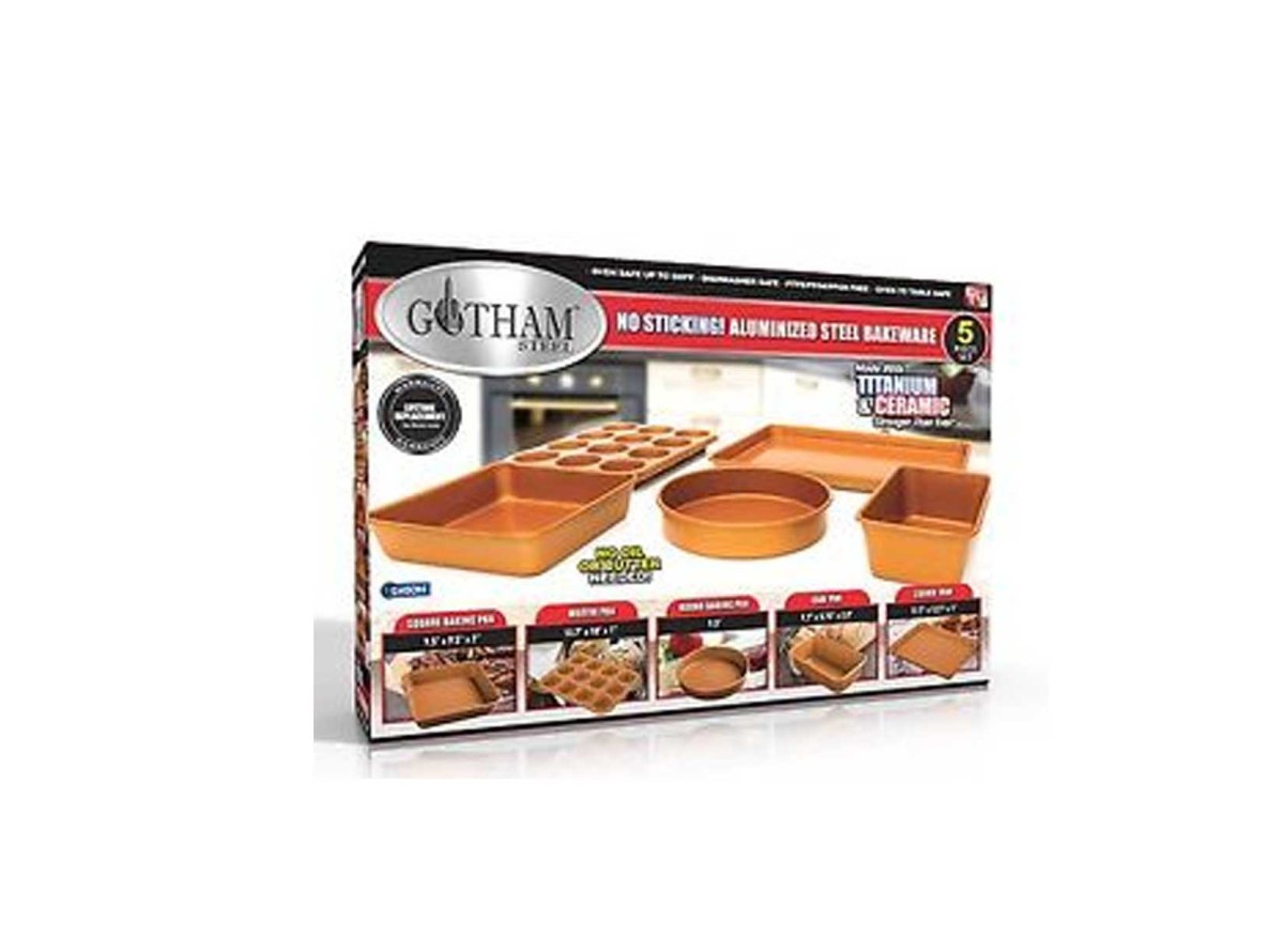 Gotham Steel 5 Piece Copper Bakeware Set with Nonstick Ti-Cerama Coating for $79.99 at eBay