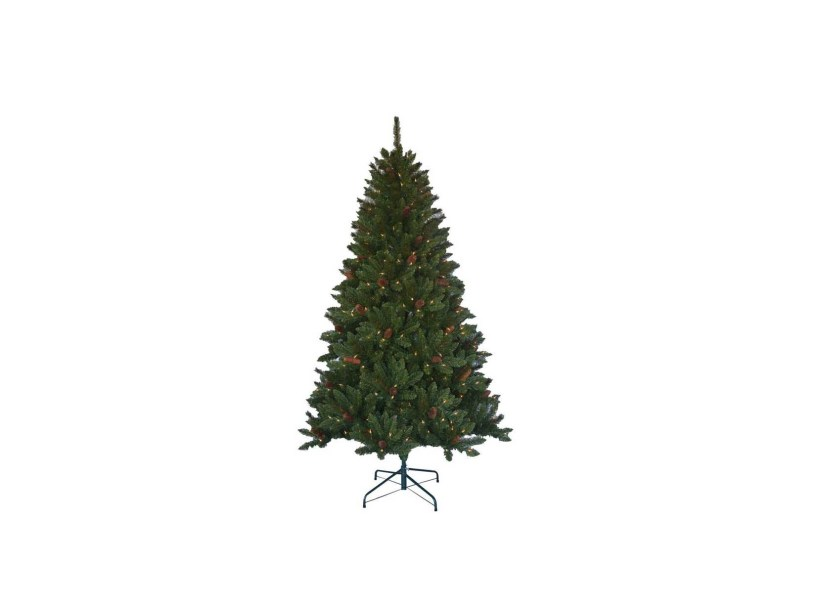 pre lit artificial christmas tree with clear lights and pinecones for 2975 at the home depot