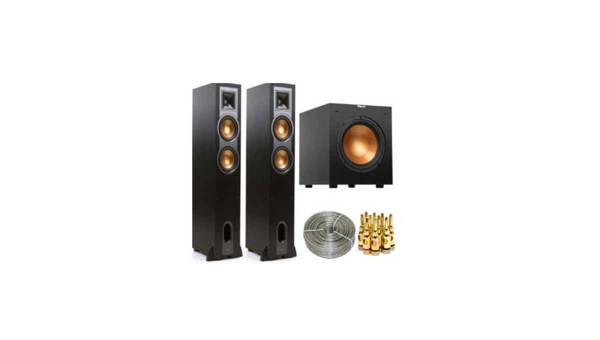"Klipsch R-26F Floorstanding Speaker Pair w/ R-10SW 10"" 300w Subwoofer for $449.99 at eBay"