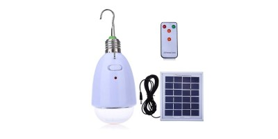 LightMe Multi-functional LED Solar Powered Light E27 12-LED Dimmable Lamp with Remote Controller