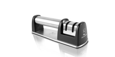 PriorityChef Knife Sharpener for Straight and Serrated Knives, 2 Stage Diamond Coated Sharpening Wheel System