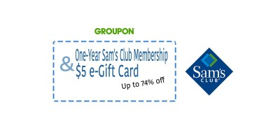 up to 74% Off One-Year Sam's Club Membership and $5 e-Gift Card