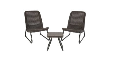 3 Pc Keter Rio All Weather Outdoor Patio Garden Conversation Chair & Table Set Furniture (Brown)