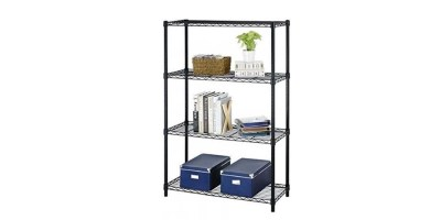 BestOffice 54 Steel Wire 4-Tier Metal Shelving Rack (Black or Chrome)