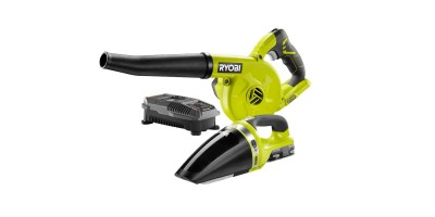 Ryobi 18-Volt ONE+ Lithium-Ion Cordless Sweeper and Vacuum (2-Tool) Combo Kit with (1) 1.3 Ah Battery and Charger