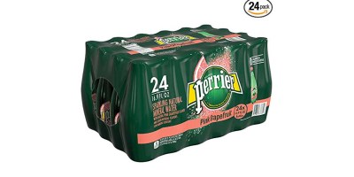 24 Count Perrier Pink Grapefruit Flavored Carbonated Mineral Water – 16.9 fl oz. Plastic Bottles
