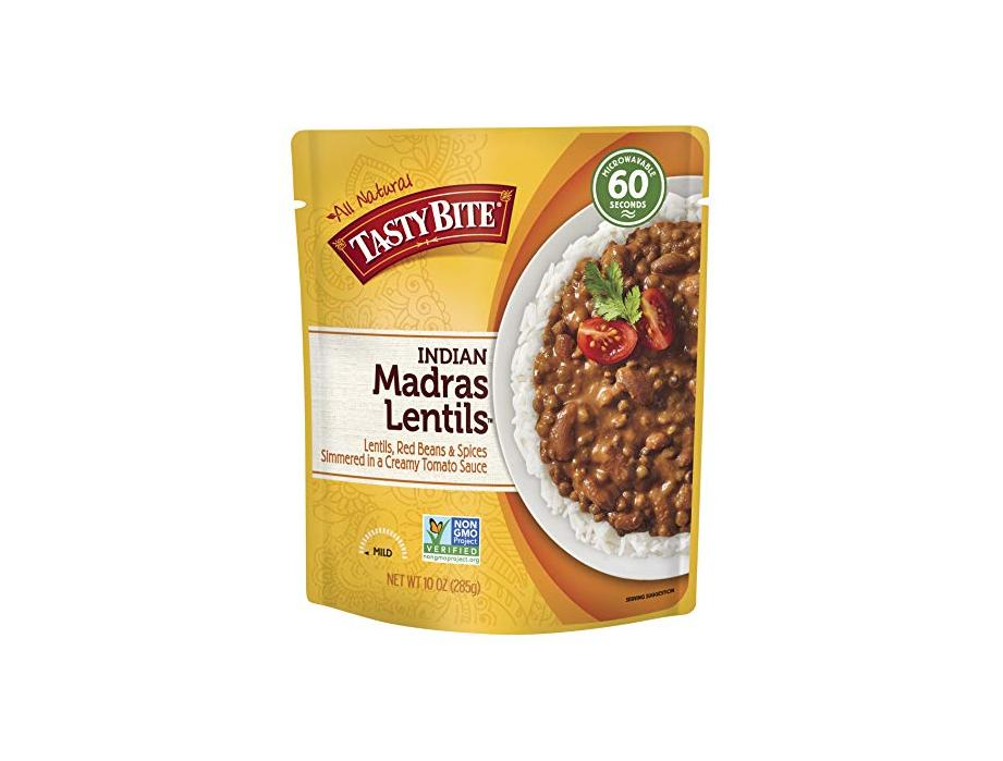 Tasty Bite Indian Entree Madras Lentils 10 Ounce (Pack of 6) Fully Cooked Indian Entrée with Lentils Red Beans & Spices in a Creamy Tomato Sauce Microwaveable Ready to Eat for $6 at Amazon