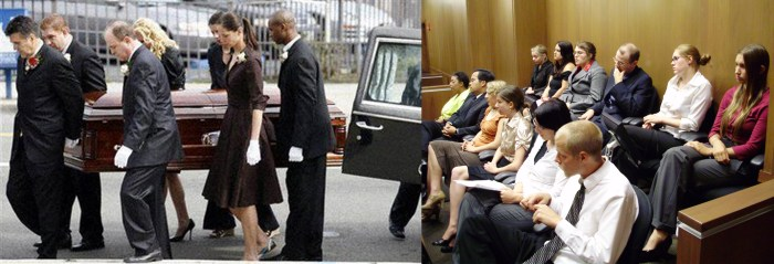 On the left is a casket being carried by six people, on the right is a jury of 12 men and women.