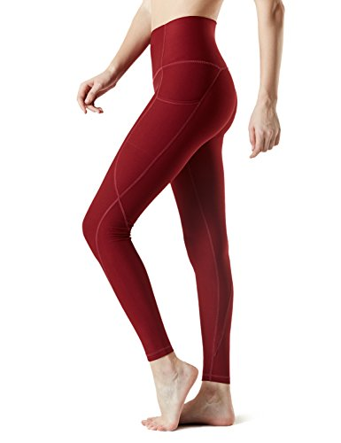 TSLA Yoga Pants Mid-Waist/High-Waist Tummy Control w Side/Hidden Pock...