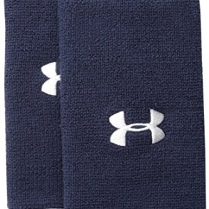 "Under Armour 6"" Performance Wristband 2-Pack, Midnight Navy (410)/Whi..."