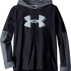 Under Armour  Boys'Tech Hoodie, Black//Mod Gray, Youth Medium