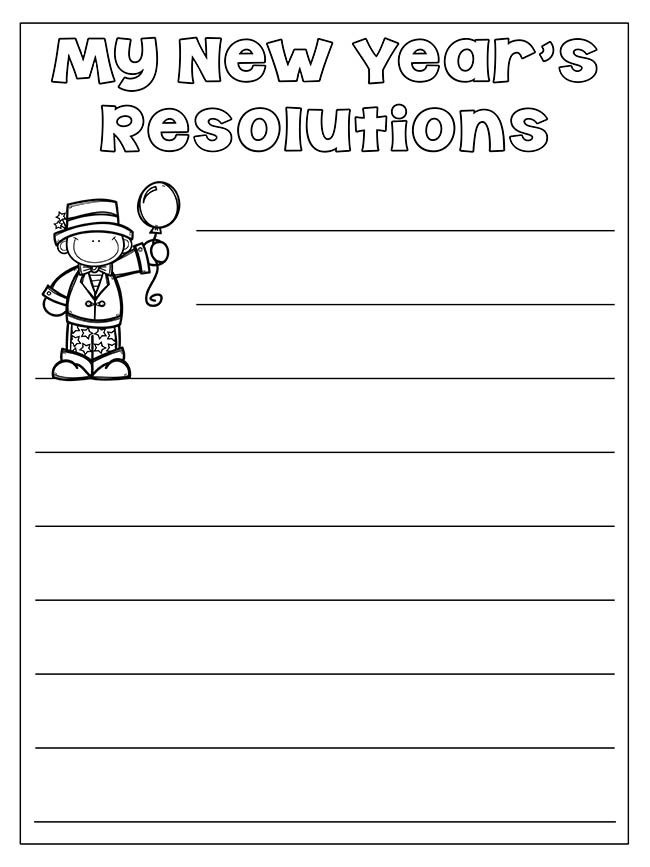 New Year's Resolution Worksheet Printable - The Best Ideas For Kids