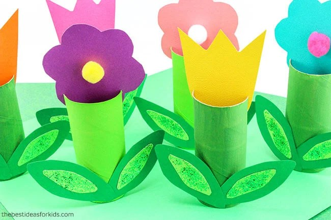 Toilet Paper Roll Flowers Kids Craft