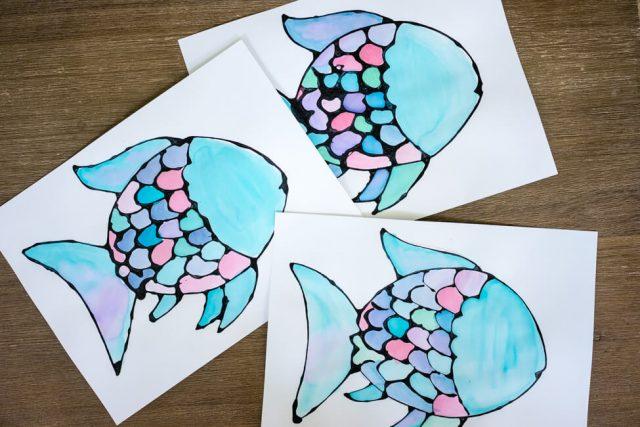 Watercolor Black Glue Rainbow Fish