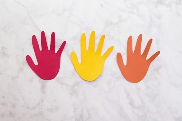 Handprint Cut Outs for Fall Handprint Tree