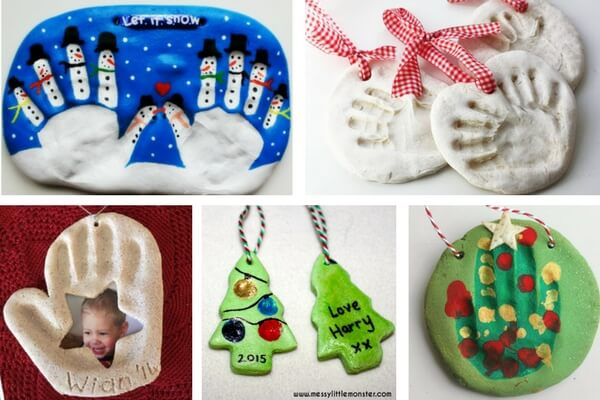 Salt Dough Handprint Christmas Ornaments