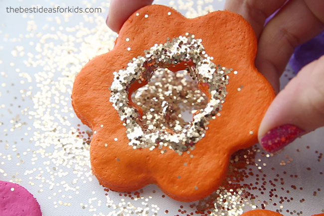 Glitter Salt Dough Flowers