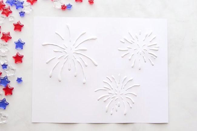 Fireworks Salt Painting Glue