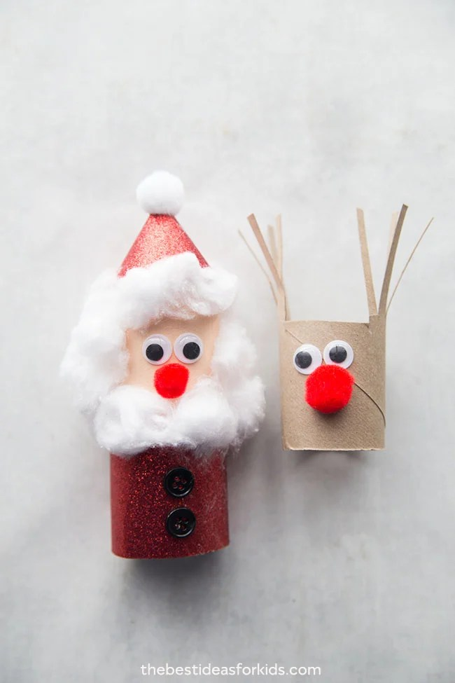 Santa and Reindeer Toilet Paper Roll Crafts