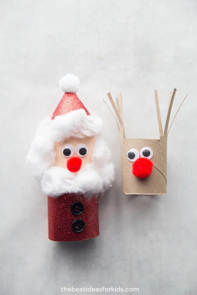 Santa and Reindeer Toilet Paper Roll Crafts