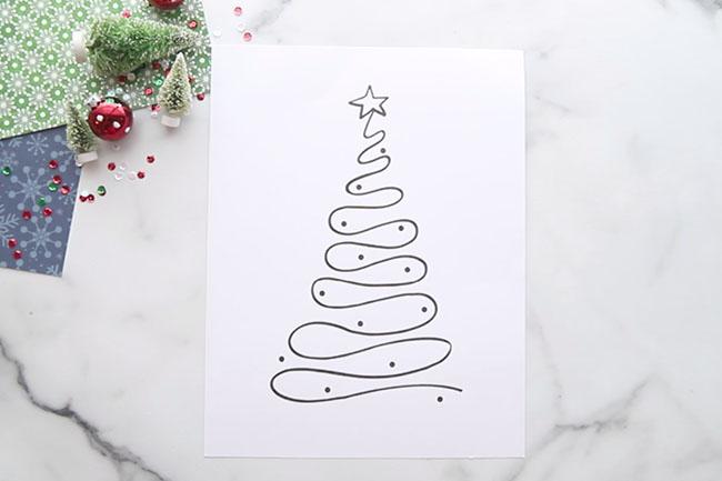 Christmas Tree Template for Salt Painting