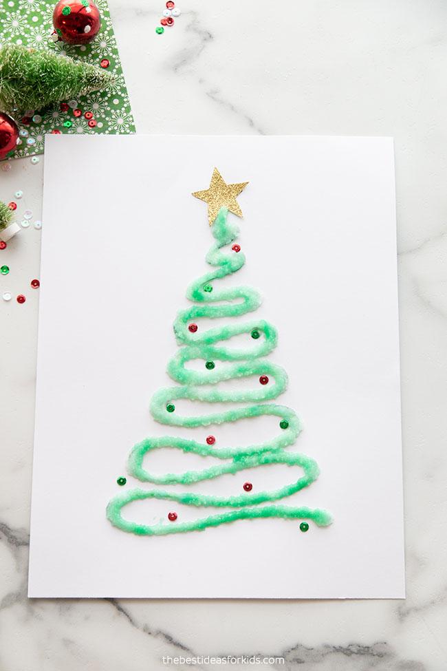 Salt Painted Christmas Tree Craft