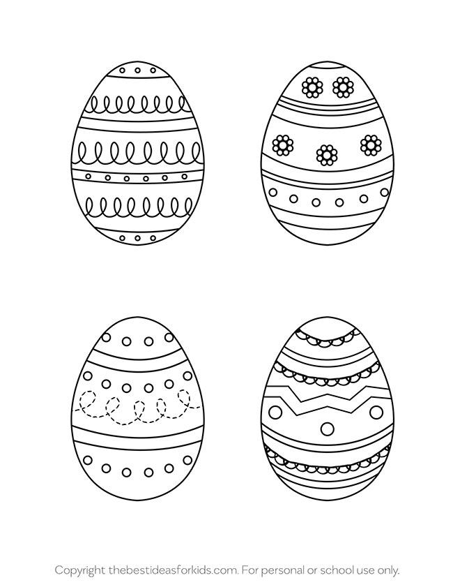 Easter Egg Templates 4 Designs