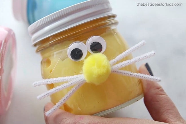 Add Pom Pom and Google Eyes to Bunny Slime Jars
