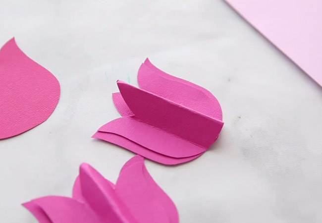 Glue Paper Tulips together