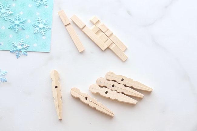 Glue Clothespins Snowflakes