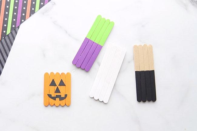 Add Pumpkin Face to Popsicle Sticks
