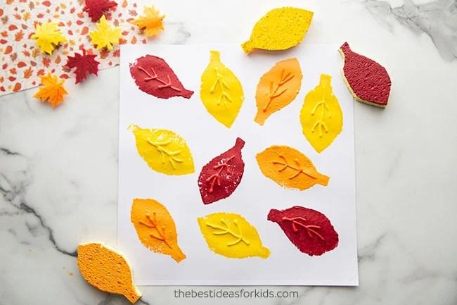 Sponge Painting Leaf Craft