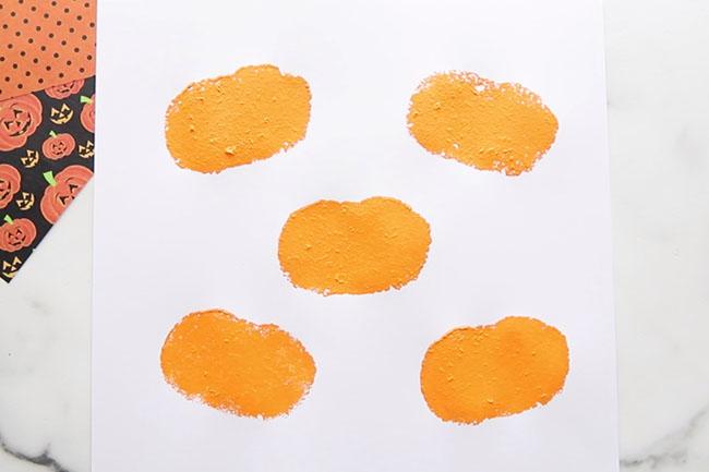 Stamp Pumpkins On Paper