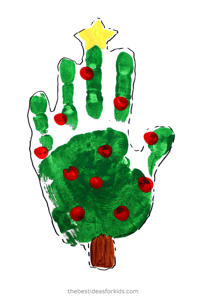 Handprint Christmas Tree with Paint