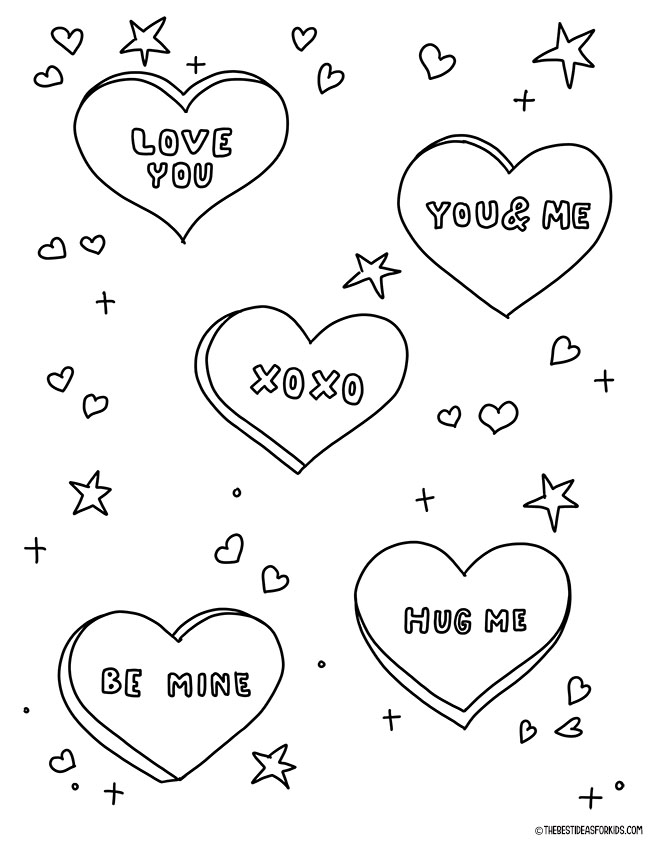 Conversation Hearts Coloring Page for Kids