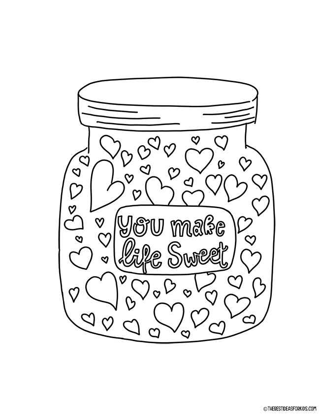 Jar of Hearts Coloring Page for Kids
