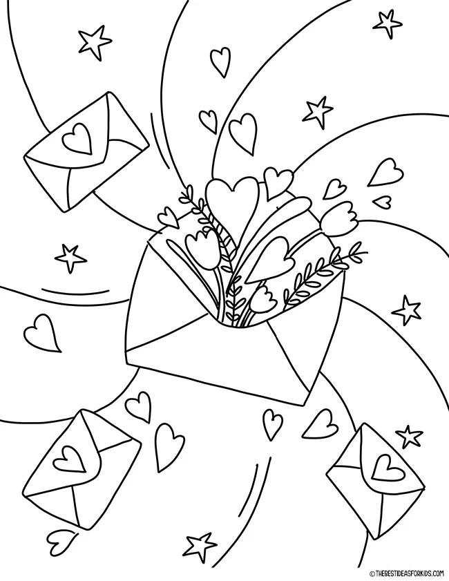 Valentine Envelope Coloring Page