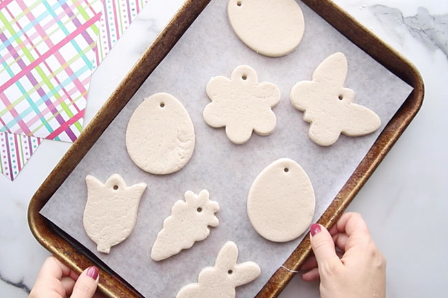 Add Hole to Salt Dough Easter Ornaments
