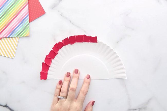 Add Red Scrap Paper Around Paper Plate
