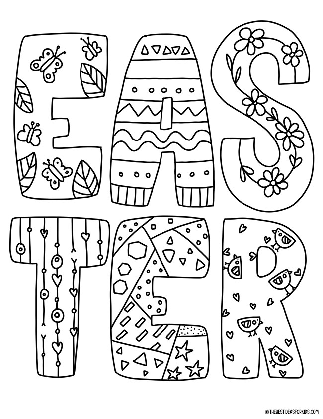 Easter Letters Coloring Page