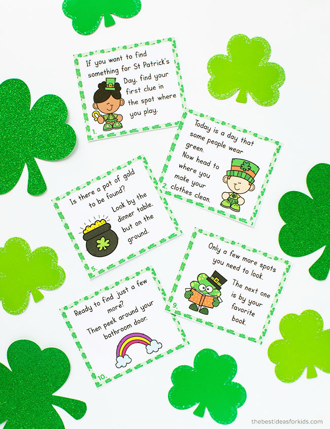 Scavenger hunt printable cards for St Patrick's Day