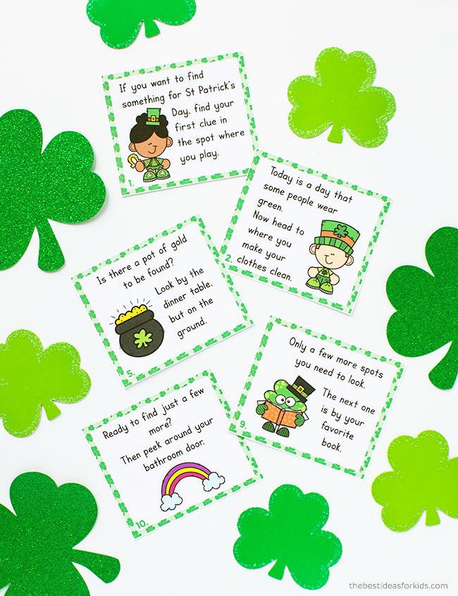 Scavenger hunt printable cards for St Patrick's Day