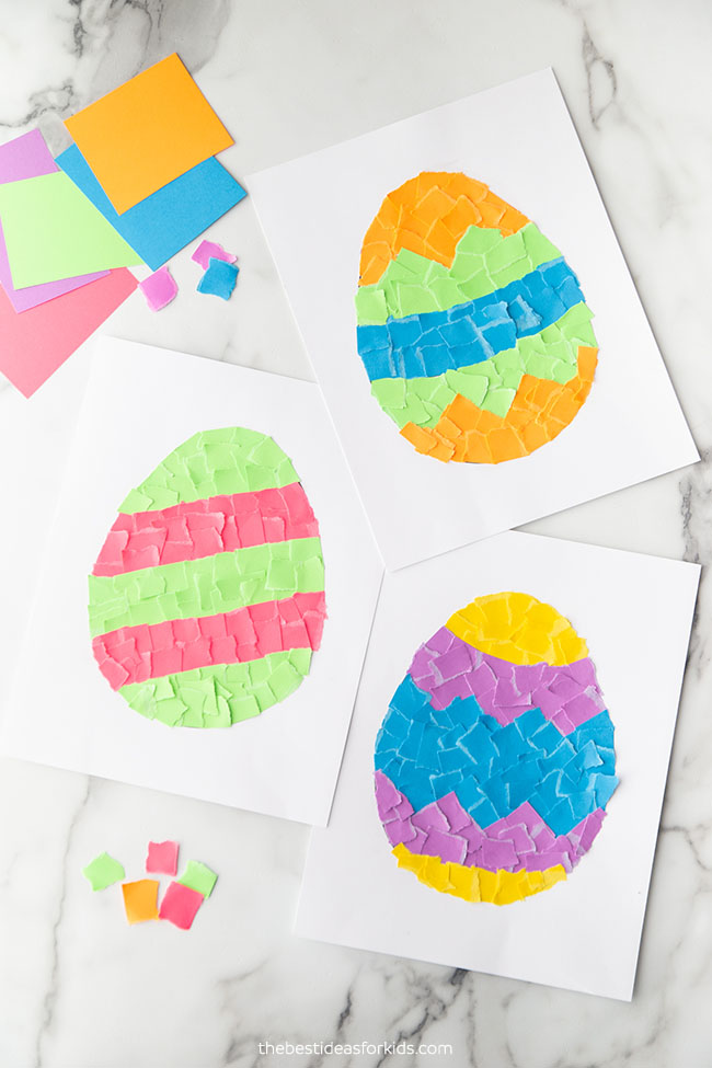 Torn Paper Easter Eggs Craft