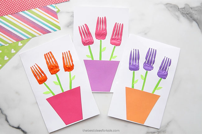 Fork Painted Flower Card