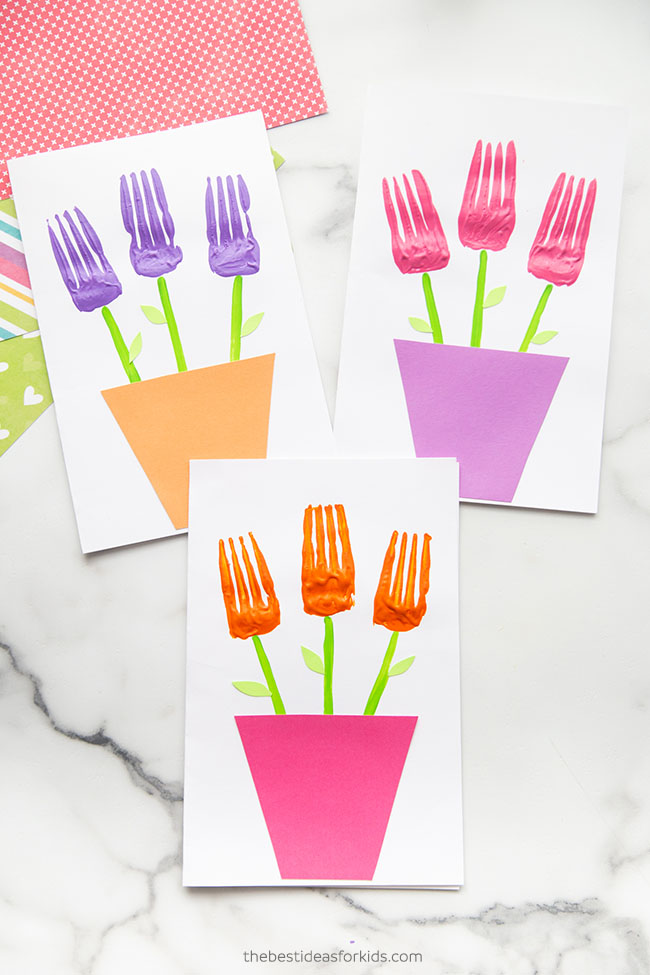 Fork Painted Flowers Card